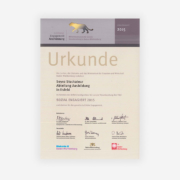 Urkunde Mittelstandspreis für soziales Engagement